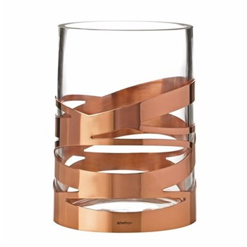 Tangle Vase, H16.5 x W12cm, glass and stainless steel with lacquered copper coating