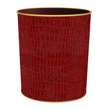 Croc Burgundy - Texture Range Wastepaper bin with hand guilded gold rim, H28cm