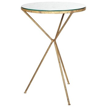 Triomphe Tripod table, D43 x H64cm, antique mirrored glass and bronze frame