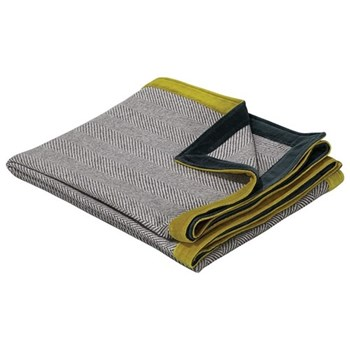 Langham Throw, L180 x W140cm, grey, blue and lime cotton