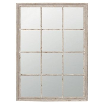 Sash Window Mirror, H95 x H130cm, distressed wood frame