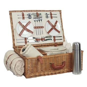 Deluxe Picnic hamper 4 person, 58 x 38 x 22cm, willow wicker with tan leather handles