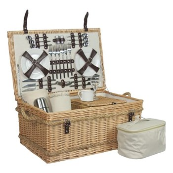 Rope Handled Picnic hamper 6 person, 62 x 40 x 29cm, willow wicker