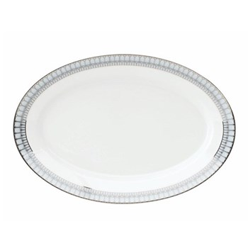 Arcades Oval platter, 40cm, grey and platinum