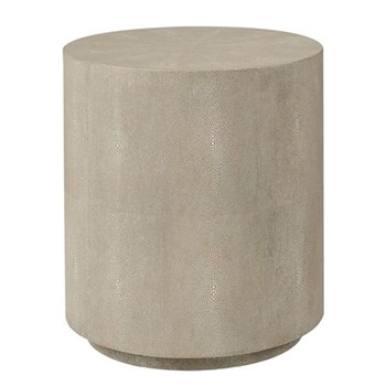 Lantau Drum table, H46 x D40cm, taupe faux shagreen