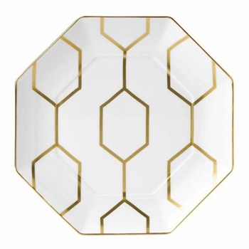 Arris Octagonal side plate, 23cm, white with gold band