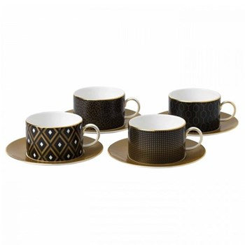 Arris Set of 4 teacups and saucers, assorted