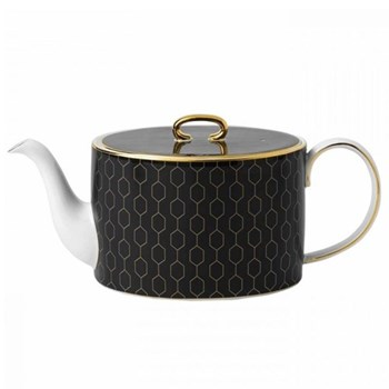 Arris Teapot, 1 litre, charcoal with gold band