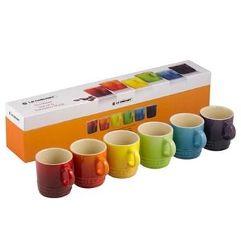 Stoneware Set of 6 espresso mugs, 10cl, rainbow
