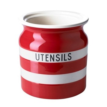 Utensil jar, 13.5 x 12.5cm, red