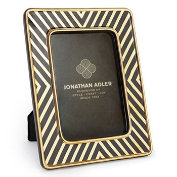 "X-Line Photograph frame, 4 x 6"", black and gold ceramic"