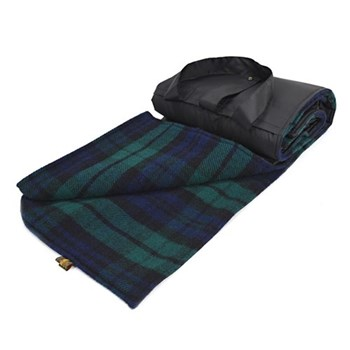 Eventer Waterpoof picnic rug, 137 x 170cm, blackwatch wool with black back