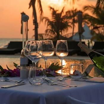 Romantic sunset meal for two