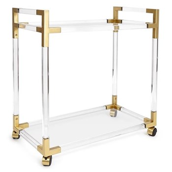 Jacques Bar cart, W81 x D45.7 x H84cm, brass/clear lucite