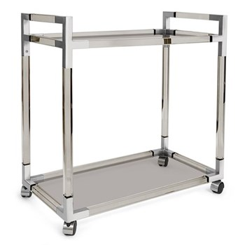 Jacques Bar cart, W81 x D45.7 x H84cm, nickel/smoke lucite