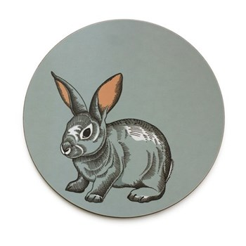Faunus Round tablemat, 25.5cm, Rabbit
