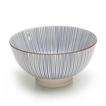 Tue Set of 6 medium bowls, 15.2cm, blue stripes