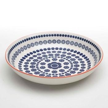 Tue Set of 6 deep plates, 20cm, blue dots