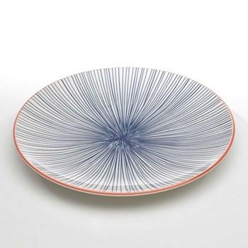 Tue Set of 6 flat plates, 26.5cm, blue stripes
