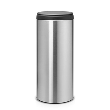 Flipbin, 30 litre - H68.5 x D29cm, matt steel, fingerprint proof with dark grey lid