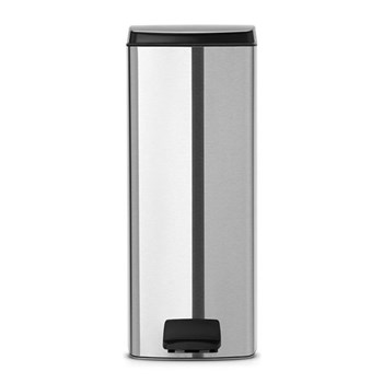 Rectangular pedal bin, silent, 25 litre - H67.5 x W27.5 x D38cm, matt steel, fingerprint proof