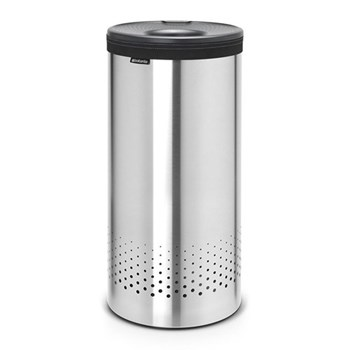 Selector Laundry bin, 35 litre - H63 x D30cm, matt steel with dark grey lid