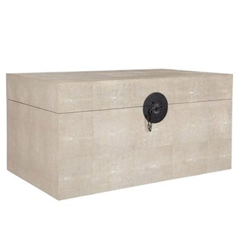 Faux shagreen trunk, W77 x D46 x H38cm, taupe