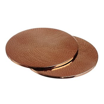 Set of 4 round coasters, D10.5cm, copper coated