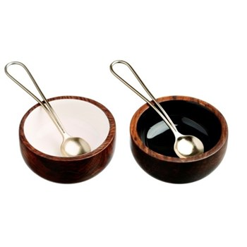 Condiment set, 7.5cm and 11cm spoon, sheesham wood