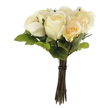 Bouquet of faux garden roses, white