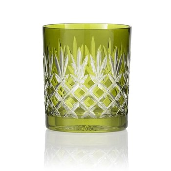 Pineapple Pair of double old fashioned tumblers, 28cl, olive green