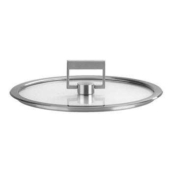 Strate Flat glass lid, 28cm, brushed stainless steel
