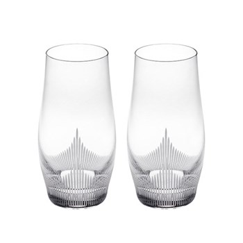 100 Points Pair of large tumblers, H15.5cm - 34cl, clear