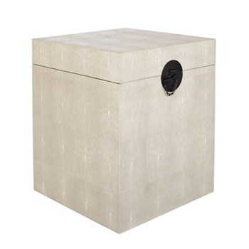 Trunk, H60 x 50 x 50cm, taupe faux shagreen
