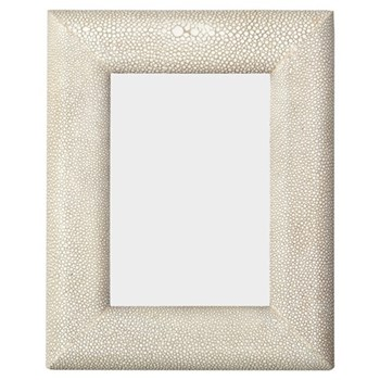 """Curved Photograph frame, 7 x 5"""", taupe faux shagreen"""