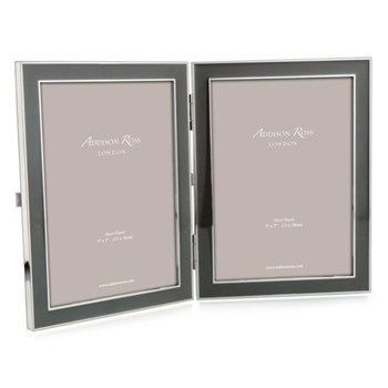 "Enamel Range Double photograph frame, 5 x 7"" with 15mm border, taupe with silver plate"
