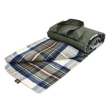 Eventer Waterpoof picnic rug, 137 x 170cm, blue dress stewart wool with olive back