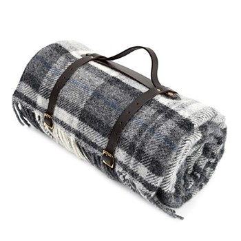 Polo Waterpoof picnic rug with leather straps, 145 x 183cm, cottage grey with black back