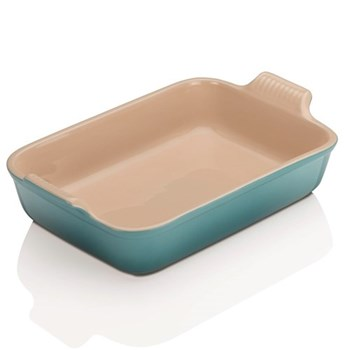 Stoneware - Heritage Rectangular dish, 32 x 28 x 6.5cm - 3.85 litre, teal