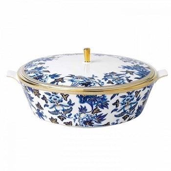 Hibiscus Covered vegetable dish, 1.5 litre, floral