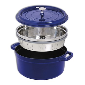 Round cocotte with steamer 26cm