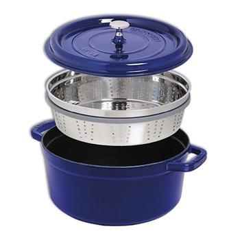 Round cocotte with steamer, 26cm, dark blue