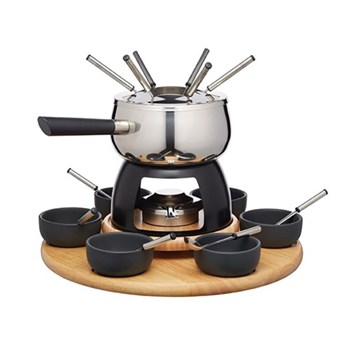 Master Class - Artesa Party fondue set, 31 x 38cm, stainless steel and black glaze