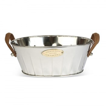 Champagne bath with leather handle 19 x 49 x 30cm