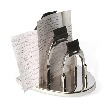 Stirrup Letter holder, 18 x 19 x 19cm, nickel plate with leather detail