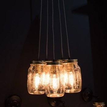 Cluster of 5 hanging preserve jar lights each jar 17.5 x 9.5cm