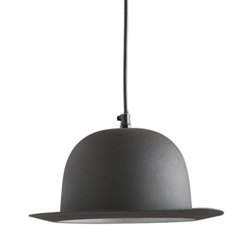 Bowler Hat Pendant light, 16 x 27cm, black finish with silver interior