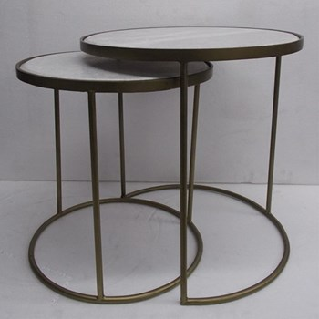 Pair of small and large marble topped nest tables, small 40cm / large 46cm, marble, iron and brass