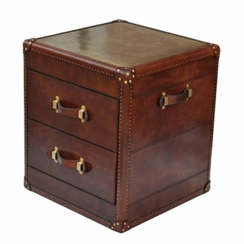 Panama Cognac 2 drawer side table, 60 x 53 x 63cm, leather and wood with brass detail