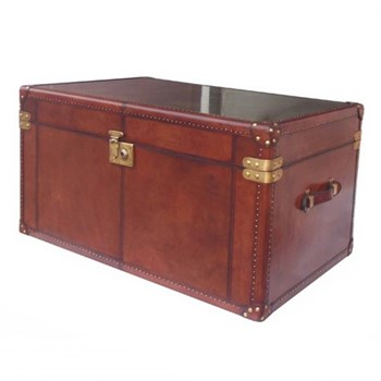 Panama Cognac Travelling trunk, 46 x 89 x 533cm, leather and wood with brass detail